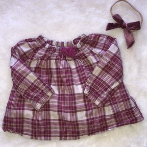 Gap baby blouse and matching bow 3-6 months